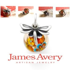 James Avery dragonfly finial glass charm bead